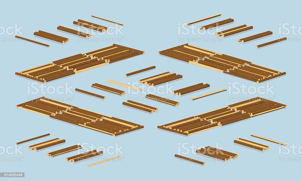 Timber floating on water vector art illustration