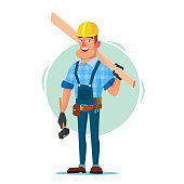 istock Timber Frame House Construction Worker Vector. Construction Worker On Framing A Building. Isolated Flat Cartoon Character Illustration 872858514