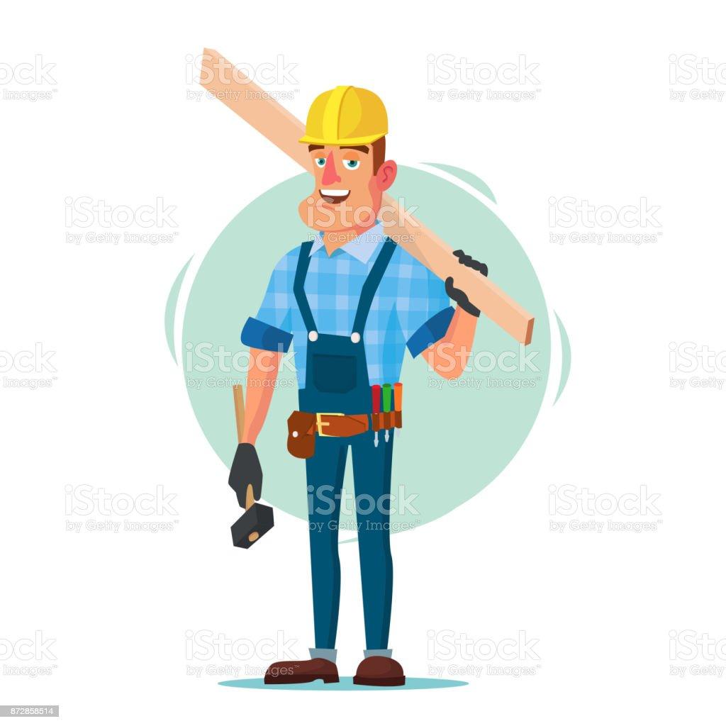 Madera casa Vector de trabajador de construcción. Trabajador de la construcción en estructura de un edificio. Aislados ilustración de personaje de historieta plana - ilustración de arte vectorial