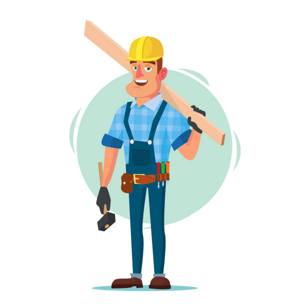 timber frame house construction worker vector. construction worker on framing a building. isolated flat cartoon character illustration - carpenter stock illustrations, clip art, cartoons, & icons