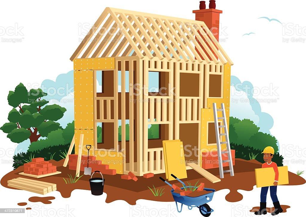 Timber framed house construction vector art illustration