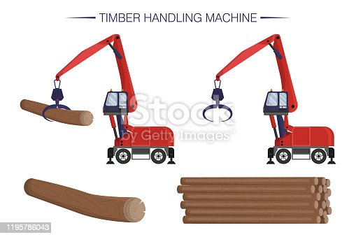 Timber handling machine. Wheel reloader. Logging operations. Pile of logs. Construction equipment. Flat cartoon vector illustration. Set of isolated icons on white background.