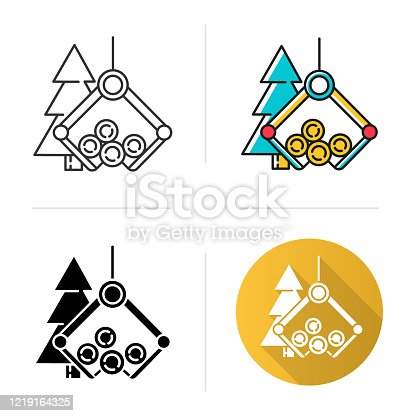 Timber industry icon. Logging sector. Wood production. Forestry management. Heavy lifting crane loading spruce logs. Flat design, linear and color styles. Isolated vector illustrations