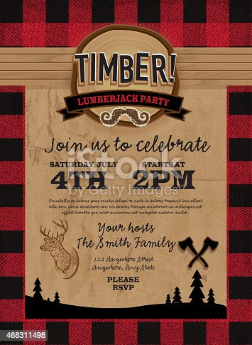 istock Timber Lumberjack party invitation design template 468311498