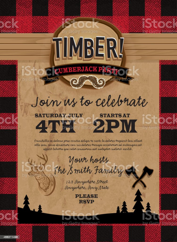 Timber Lumberjack party invitation design template vector art illustration