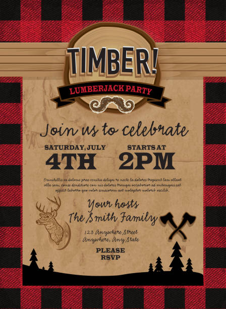 Timber Lumberjack party invitation design template Vector illustration of a Timber Lumberjack party invitation design template. Design includes red and black color palette with wood and paper textures. Includes deer head, crossed axes, wood stump, silhouette of evergreen trees and cute mustache. Perfect for Canadian celebration, boys birthday party invitation, lumberjack, hipster or male party themes. Layers for easy editing. Sample text design. stuffed stock illustrations