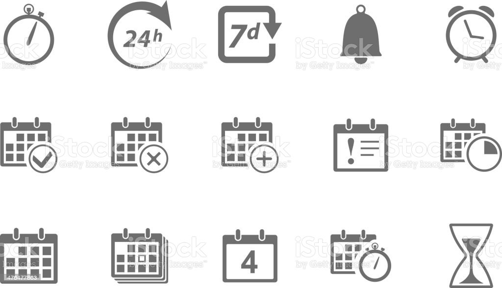Time and Calendar Icons vector art illustration