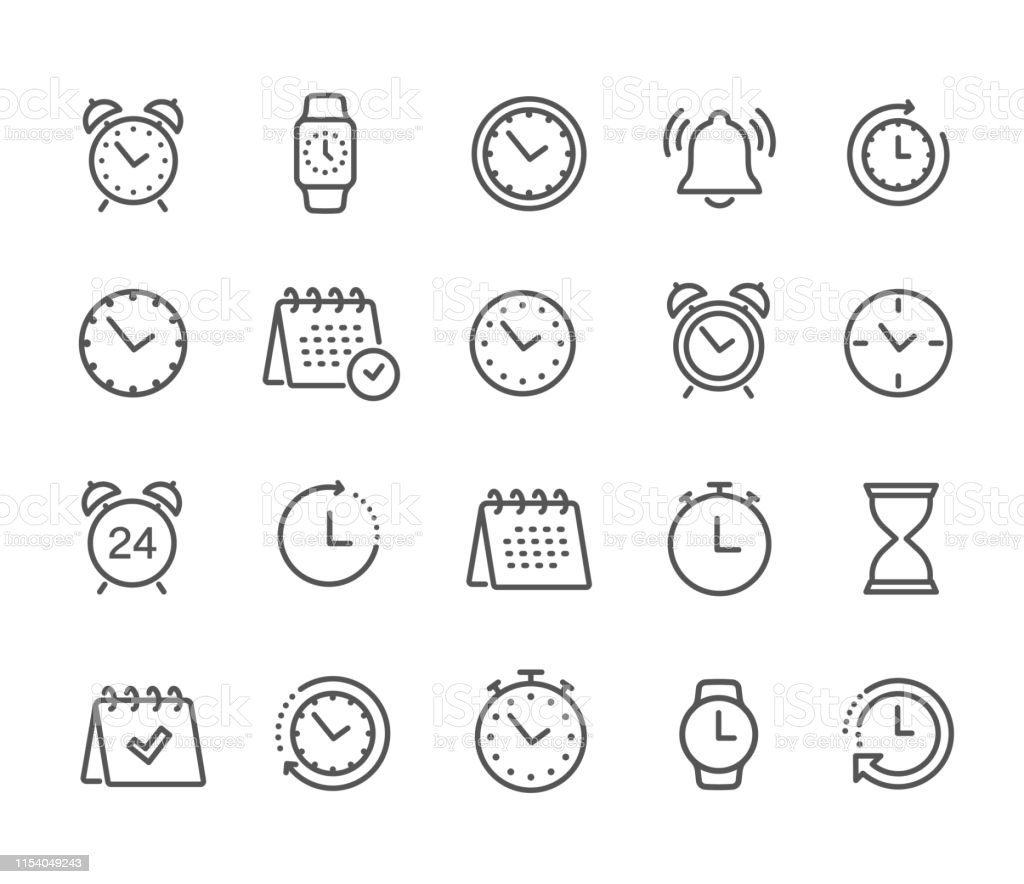 Time and clock, calendar, timer line icons. Vector linear icon set - stock vector. Time and clock, calendar, timer line icons. Vector linear icon set - stock vector. Alarm stock vector