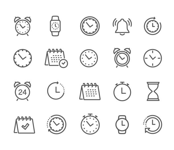 illustrazioni stock, clip art, cartoni animati e icone di tendenza di time and clock, calendar, timer line icons. vector linear icon set - stock vector. - icons
