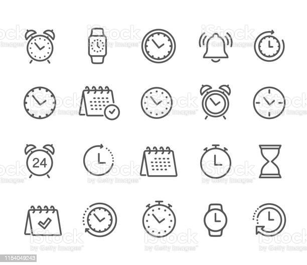 Time And Clock Calendar Timer Line Icons Vector Linear Icon Set Stock Vector Stock Illustration - Download Image Now