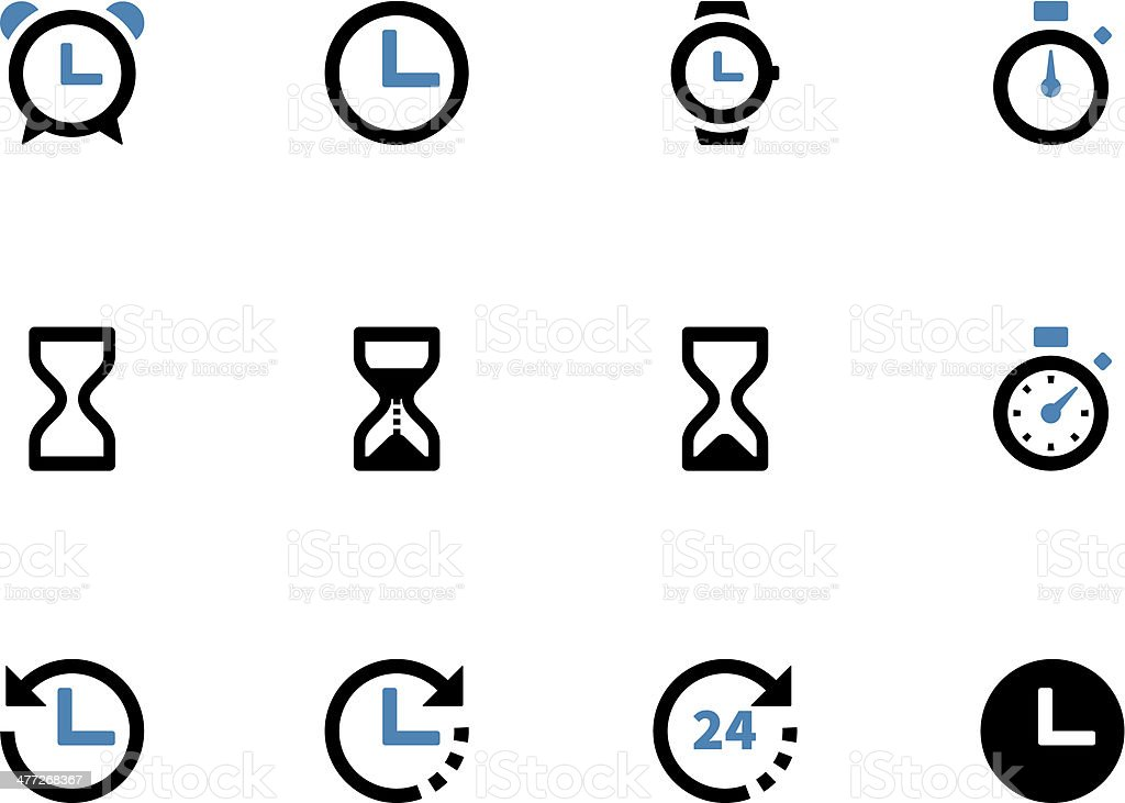 Time and Clock duotone icons on white background. royalty-free stock vector art