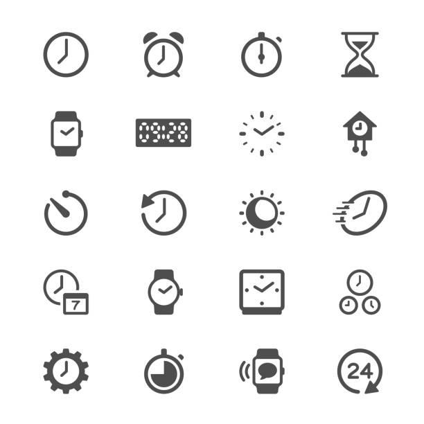 Zeit und Uhr Glyph-Symbole – Vektorgrafik