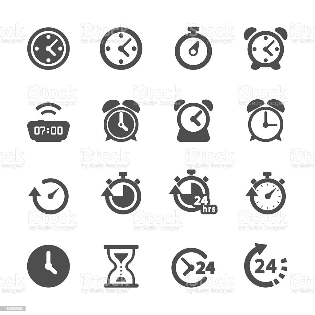time and clock icon set, vector eps10 vector art illustration