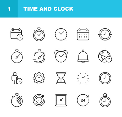 Time and Clock Line Icons. Editable Stroke. Pixel Perfect. For Mobile and Web.