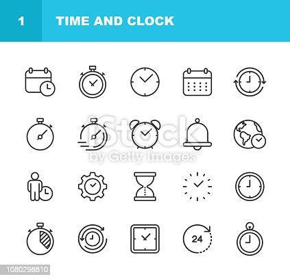 istock Time and Clock Line Icons. Editable Stroke. Pixel Perfect. For Mobile and Web. 1080298810