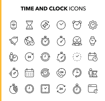 Time and Clock Line Icons. Editable Stroke. Pixel Perfect. For Mobile and Web. Contains such icons as Clock, Time, Deadline, Calendar, Smartwatch.