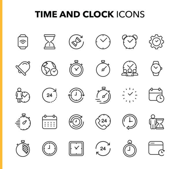 ilustrações de stock, clip art, desenhos animados e ícones de time and clock line icons. editable stroke. pixel perfect. for mobile and web. contains such icons as clock, time, deadline, calendar, smartwatch. - watch