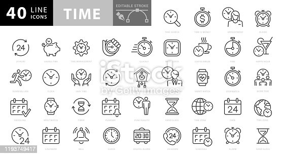 Time and Clock Line Icons. Editable Stroke. Pixel Perfect. For Mobile and Web
