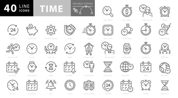 ikony czasu i linii zegara. edytowalny obrys. pixel perfect. dla urządzeń mobilnych i sieci web - czas stock illustrations