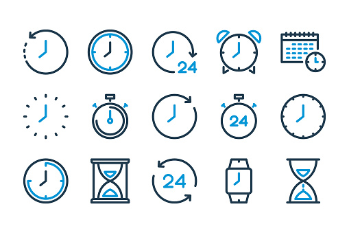 Time and Clock line icons. Watch and Time Management vector icon set.