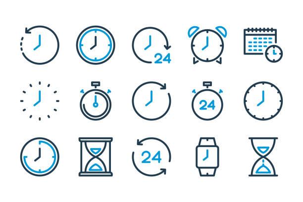 ikony linii czas i zegar. - czas stock illustrations