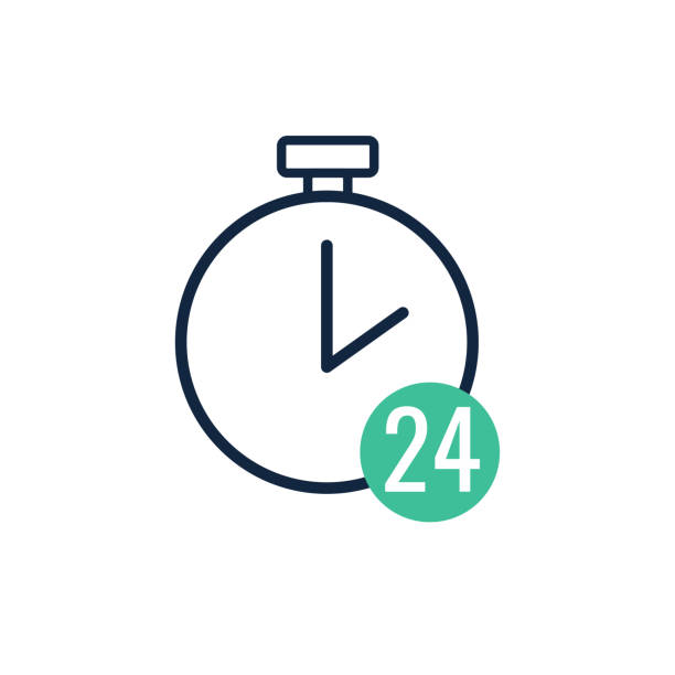 time and clock line with 24hours sign,vector illustration - call center stock illustrations