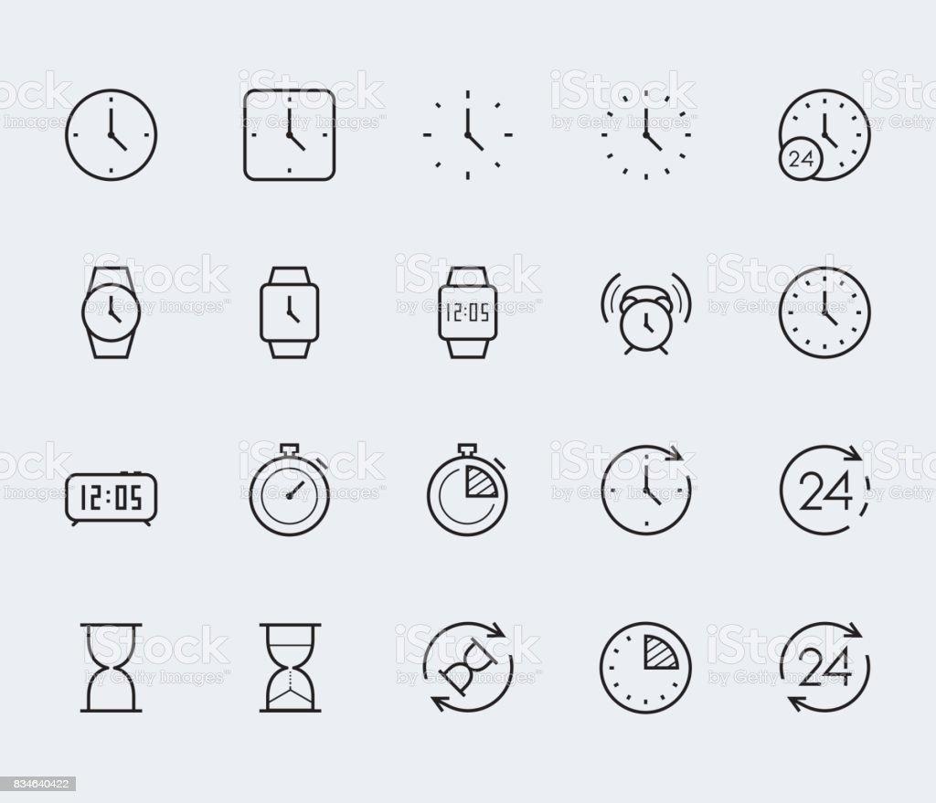 Temps et horloge vector jeu d'icônes dans le style de ligne fine - clipart vectoriel de 24 Hrs - Petite phrase libre de droits