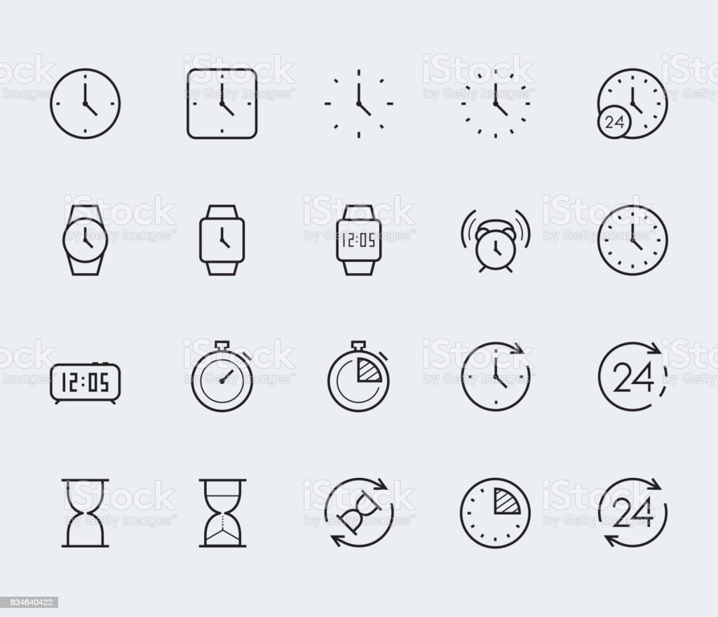 Time and clock vector icon set in thin line style vector art illustration