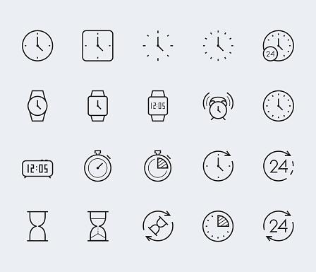 Temps Et Horloge Vector Jeu Dicônes Dans Le Style De Ligne Fine Vecteurs libres de droits et plus d'images vectorielles de 24 Hrs - Petite phrase