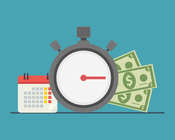 time and money, time is money The concept of managing your time and money. Time is money or time to pay. Financial planning, deadline and time management, payment day. Vector illustration. time is money stock illustrations