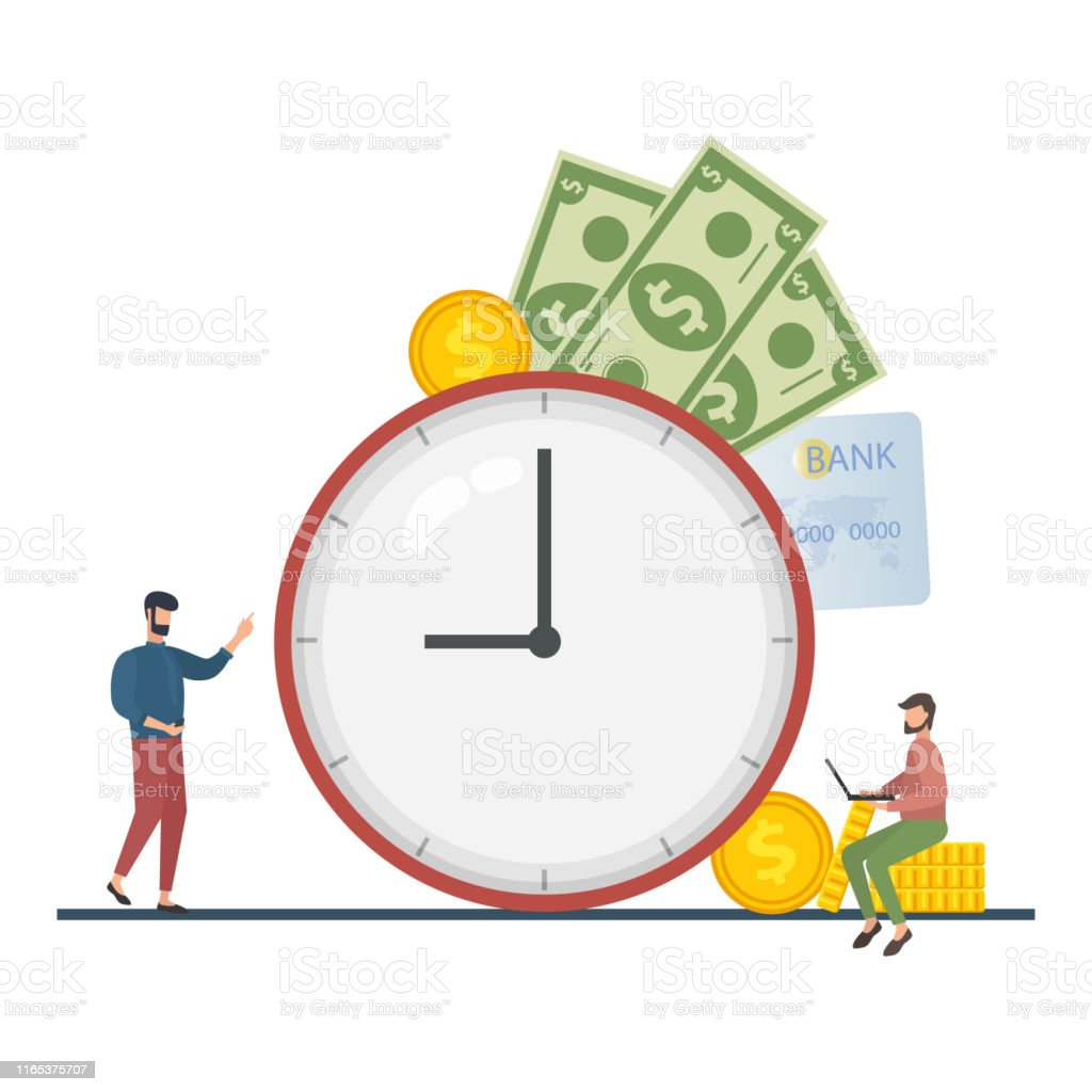 The concept of managing your time and money. Time is money or time to...