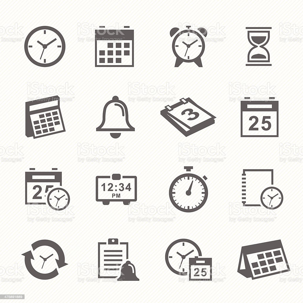 Time and Schedule stroke symbol icons set. vector art illustration