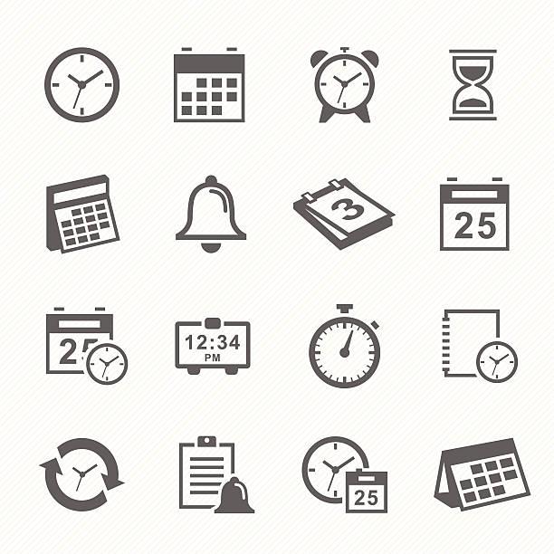 stockillustraties, clipart, cartoons en iconen met time and schedule stroke symbol icons set. - date