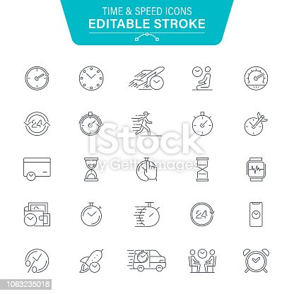 Watch, Speed, Fast, Instrument of Time, Editable Line Icon Set