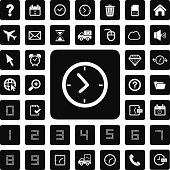 time and technology  icon set