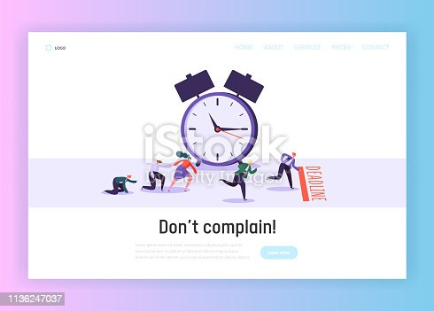 Time and Term Deadline Concept Landing Page. Male and Female Office Worker Character Run to Finish. Time Management Planning Website or Web Page. Big Clock Flat Cartoon Vector Illustration