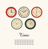 Time banner with set of round clocks