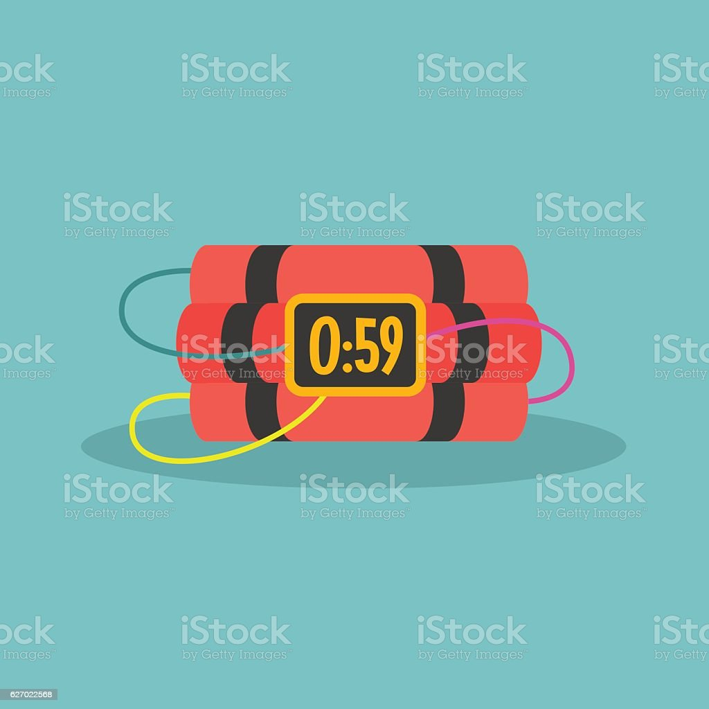 TNT time bomb with digital display vector art illustration