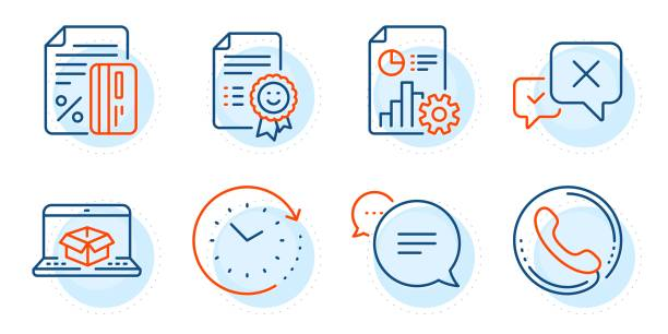 illustrazioni stock, clip art, cartoni animati e icone di tendenza di time change, report and credit card icons set. reject, call center and smile signs. vector - shifts call centre