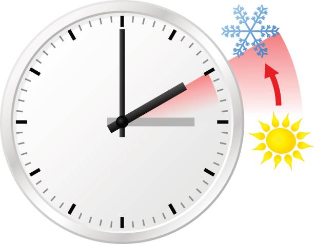 time change to standard time - daylight savings time stock illustrations, clip art, cartoons, & icons
