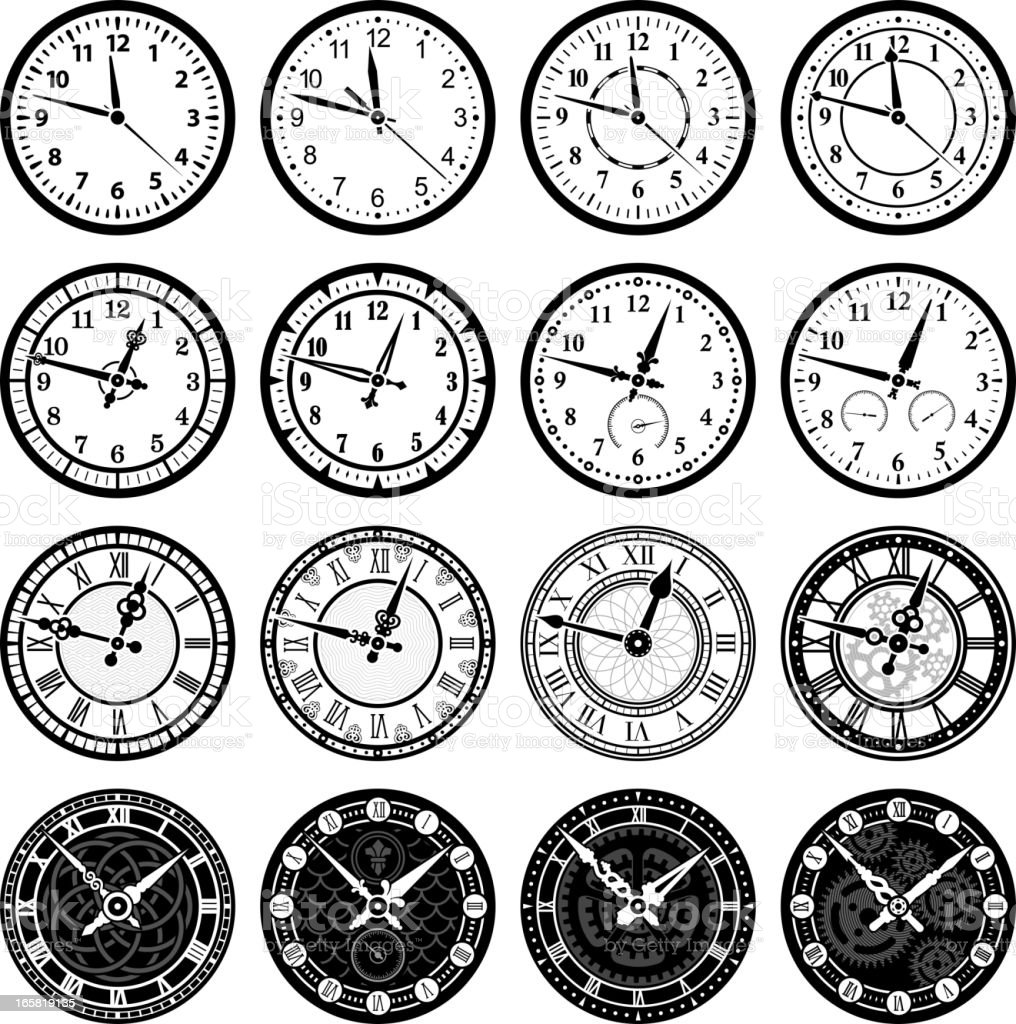 Time Clock and watch royalty free vector icon set vector art illustration
