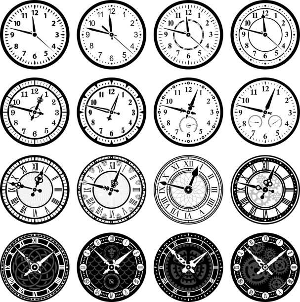 illustrazioni stock, clip art, cartoni animati e icone di tendenza di orologio marcatempo e guarda set di icone vettoriali royalty-free - quadrante