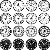 Time Clock and watch royalty free vector icon set