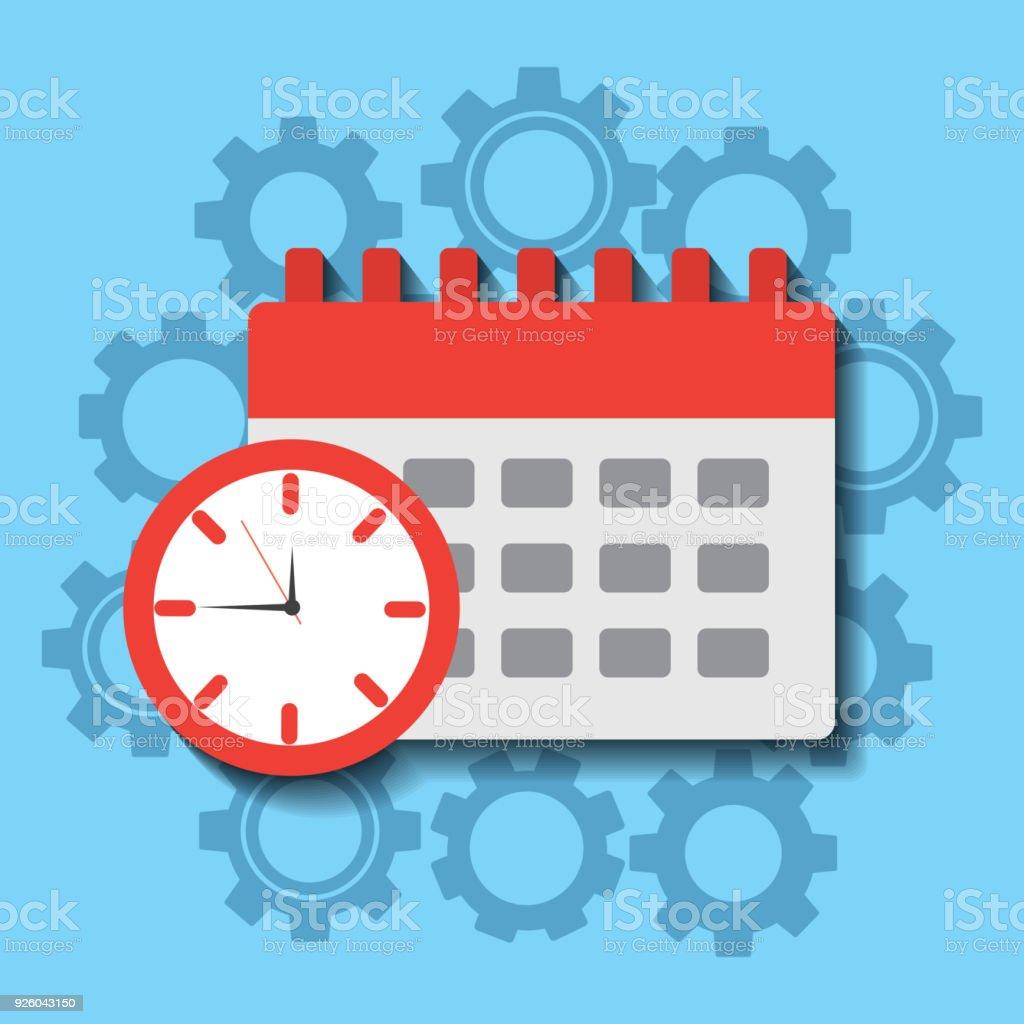 Calendrier De Travail.Planification Du Travail Horloge Calendrier Vecteurs Libres
