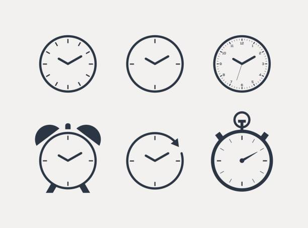 Time Clock Icon Set Time Clock Icon Set wall clock stock illustrations
