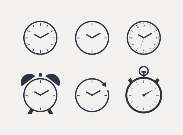ilustraciones, imágenes clip art, dibujos animados e iconos de stock de icono de reloj de tiempo - wall clock