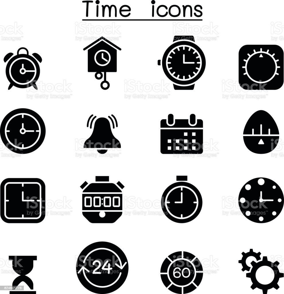 Time & clock icon set Vector illustration Graphic Design vector art illustration