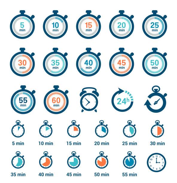 zestaw ikon zegara czasu - czas stock illustrations