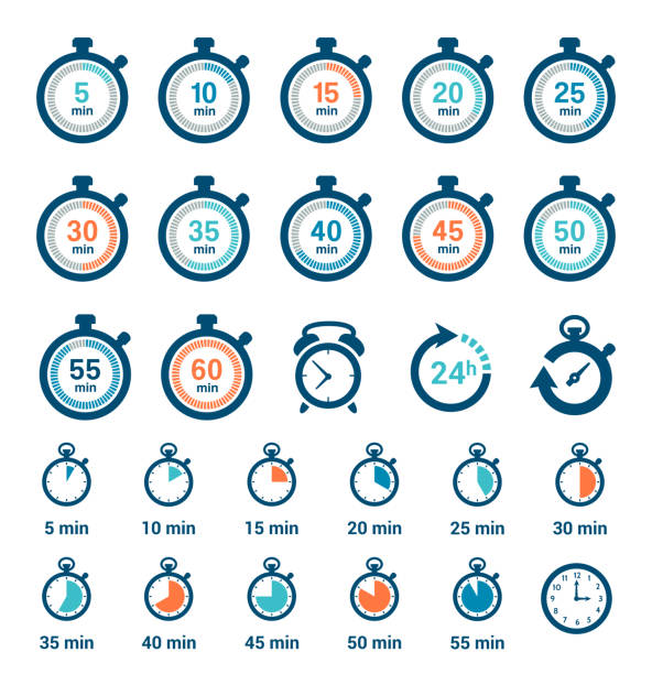 illustrations, cliparts, dessins animés et icônes de ensemble d'icônes d'horloge temporelle - chronomètre