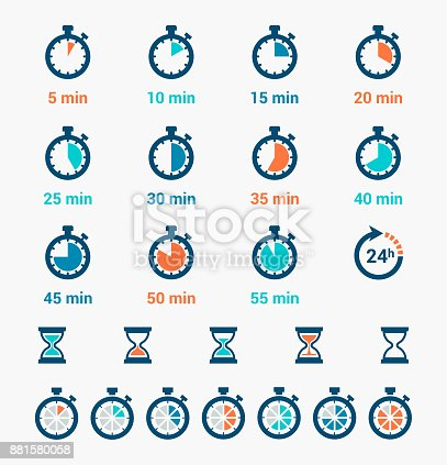 Vector illustration of the time clock icons set